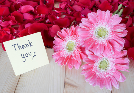 """gratefulness: flores de color rosa, rosa roja y la palabra """"Gracias"""" en el papel nota de color con fondo de madera"""