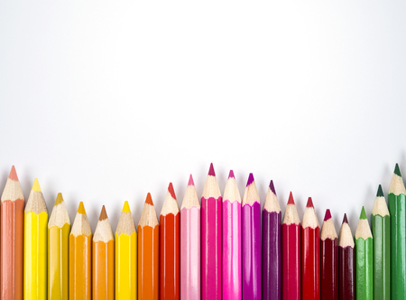 curve line: stack of color pencil on isolated  white background Stock Photo