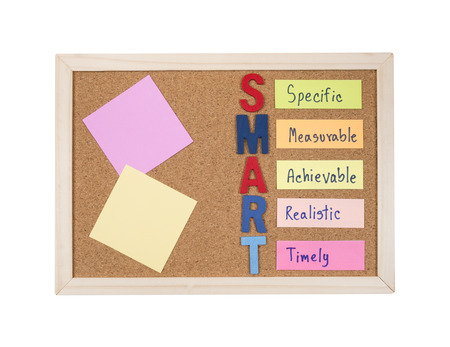 measurable: Blank sticky note and SMART Goals with cork board on isolated  white background (Business Concept)