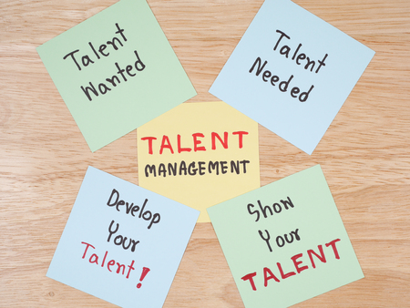 Handwriting Talent Management, Talent Needed, Talent Wanted, develop your talent, show your talent on colorful note paper with wood background.