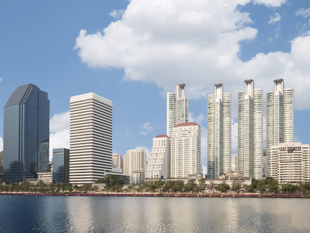 benjakitti: City park with skyscrapers and modern building under blue sky in Bangkok, Thailand (Benjakitti park)
