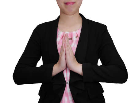 hand wear: One business woman wear black suit with greeting hand sign stand on isolatedwhite background (Business concept) Stock Photo