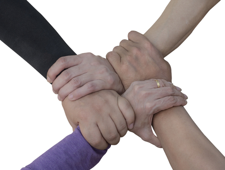 jointly: Man and women join hand together on isolated  white background (Teamwork concept)