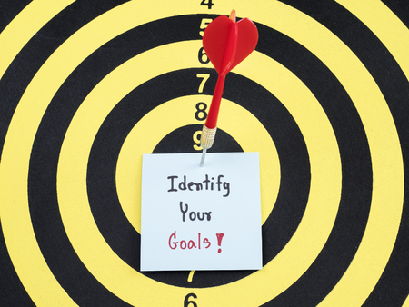 identify: Handwriting Identify your goal on notepaper with dart arrow and dart board. Stock Photo