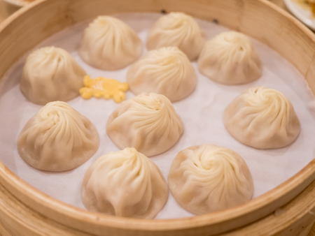 Closeup of Xiao Long Bao, Streamed Pork Dumplings Taiwan food (Selective Focus)