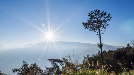 Sunrise with flare over mountain in the blue sky at Zhushan station, Alishan National Park, Taiwan. Stock fotó