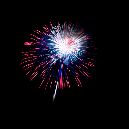 Fireworks light up on black background for celebration
