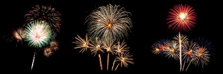 Three of fireworks light up on black background for celebration