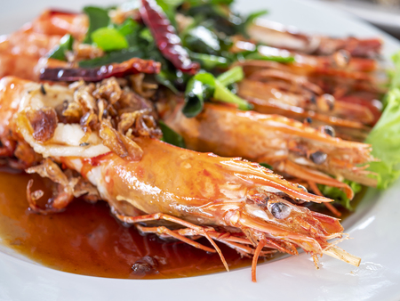Close up of Shrimp with tamarind sauce in the restaurant  delicious seafood in Thailand (Selective Focus) Stock Photo