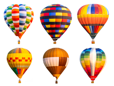 Collection of colorful hot air balloon on isolated / white background Imagens