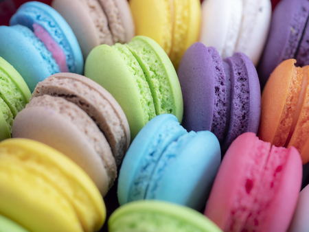 Closeup assortment of French colorful macarons with top view