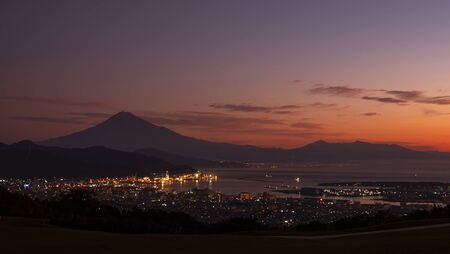 Sunrise over Mt. Fuji / Fuji Mountain and Shimizu Industrial Port at Nihondaira, Shizuoka, Japan