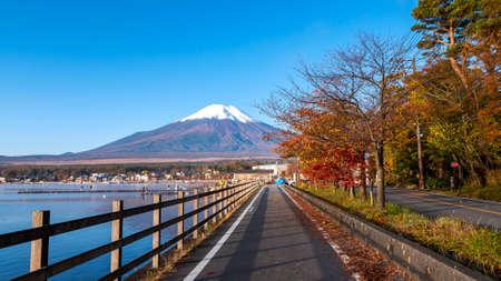 Landscape of Fuji Mountain beside the road in the lake at Yamanaka Lake, Yamanashi, Japan