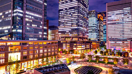 Night light cityscape of Tokyo building at Marunouchi district, japan Stock fotó