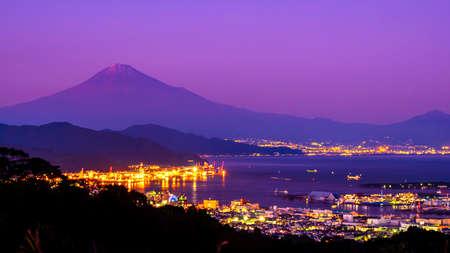 Sunrise over Mt. Fuji / Fuji Mountain and Shimizu Industrial Port at Nihondaira, Shizuoka, Japan