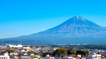 Close up of Fuji Mountain over the blue sky at Kawaguchiko Lake, Yamanashi, Japan