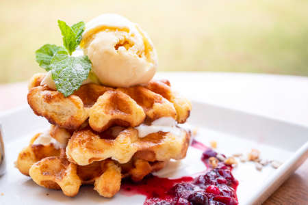 Closeup of waffles and vanila ice cream with raspberry sauce on dish, dessert in the restaurant (Selective Focus)
