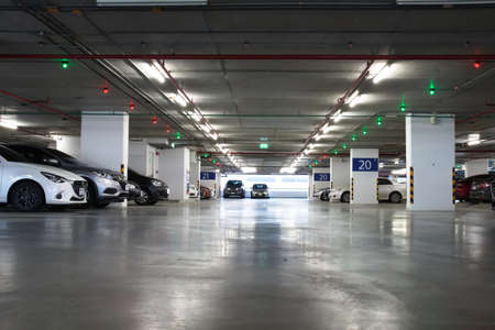 Smart parking guidance in department store with light overhead. Car lot : 13 October 2020 - Bangkok, Thailand.