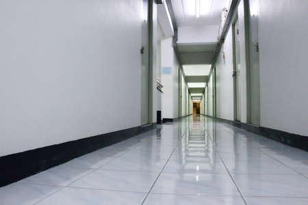 Perspective low angle view of corridor, hallway or walkway of apartment, condominium. For rental. Archivio Fotografico