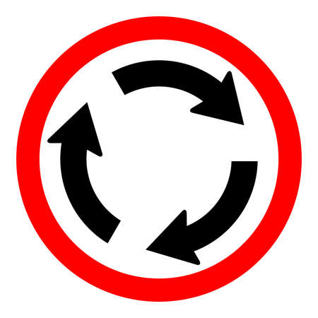 Round traffic sign, Roundabout. Vehicles go to the left - also give way to vehicles from the right.
