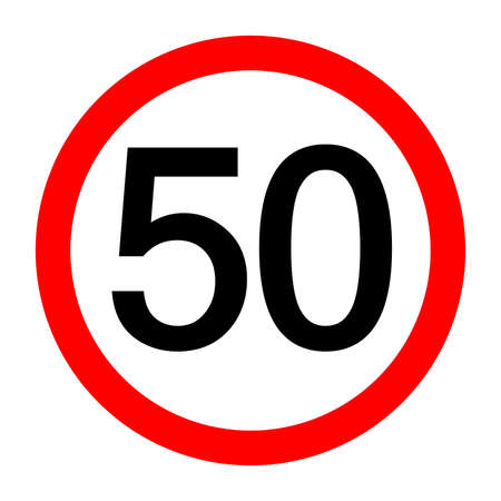 Round traffic sign, Speed limit 50 km/h.