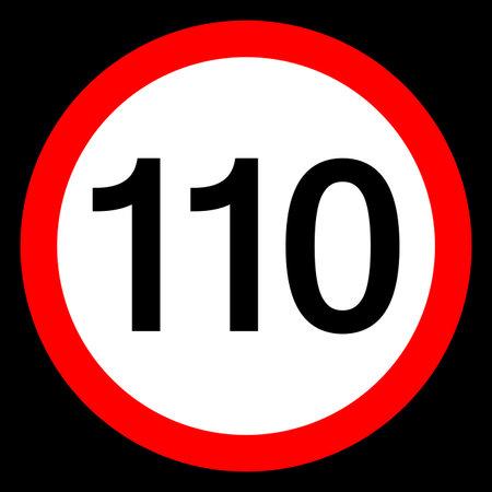 Round traffic sign, Speed limit 110 km/h.