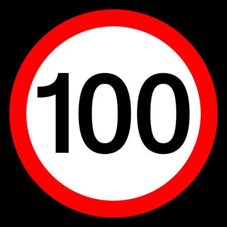 Round traffic sign, Speed limit 100 km/h. Vetores