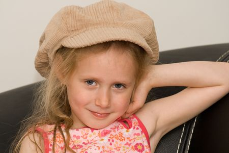 Cute little girl with hat Stock Photo