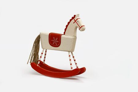 An old wooden horse, christmas decoration   Stock Photo