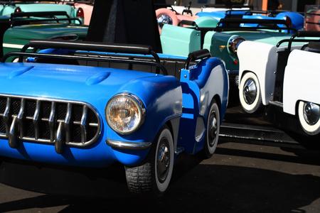 Blue car in greatest amusement park in Scandinavia - Liseberg
