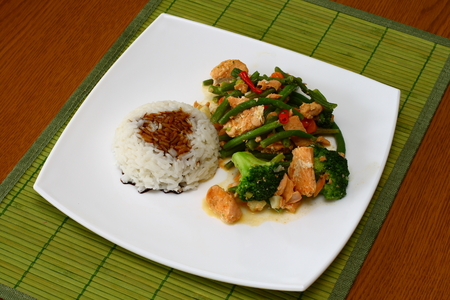 Salmon with rice and vegetables Stock Photo