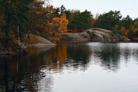 Indian summer foliage in Sweden Stock Photo
