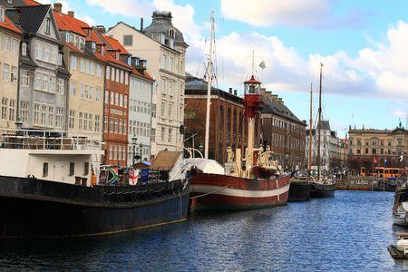 Copenhagens harbor, colorful Nyhawn area Stock Photo
