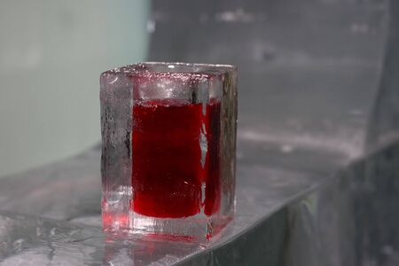 Vodka and raspberry coctail in Ice Bar