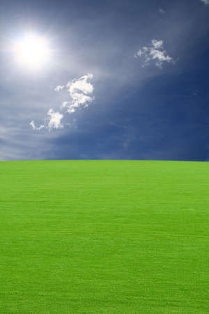 Green field under the sky Stock Photo