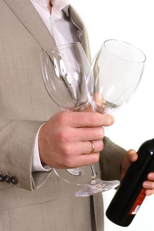 Man with wine and glasses Stock Photo