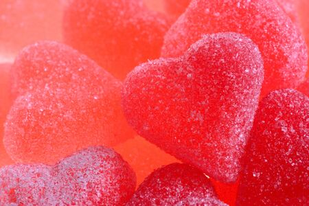 Red heart-shaped jelly candies Stock Photo