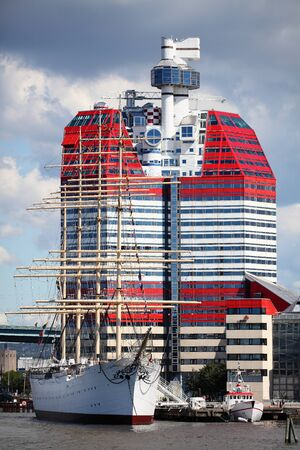 referred: Skanskaskrapan - is an 83 metre tall 23 floor post-modern skyscraper at the Lilla Bommen district, near Barken Viking in central Gothenburg, Sweden  It is commonly referred to by people from Gothenburg as the Lipstick  Editorial