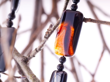 agate: A fragment of brownorange agate necklace Stock Photo