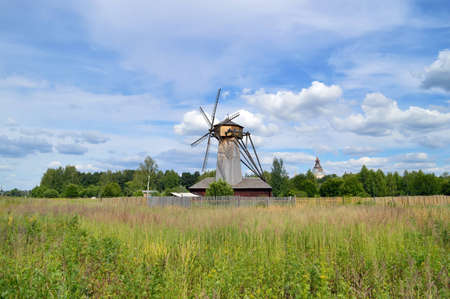 Wooden windmill from the New Jerusalem, the city of Istra photo
