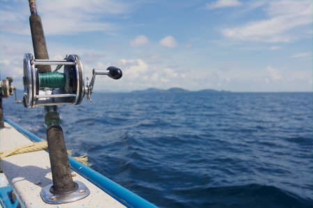 trolling: Trolling rods with reels for catching tuna