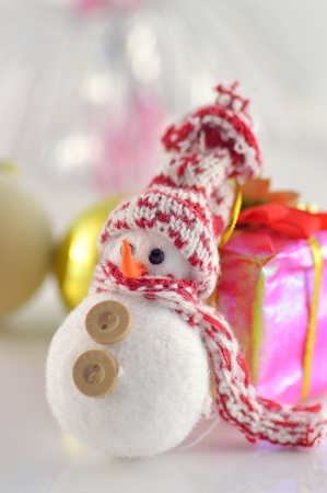 Christmas card with a snowman clous-up