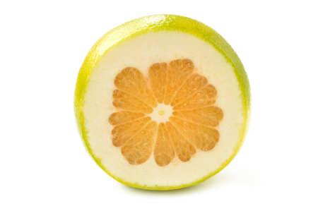 rutaceae: Citrus sveetie slices on a white background close-up Stock Photo