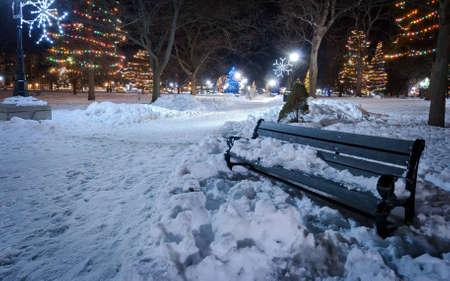 Lone bank op een koude kerstnacht