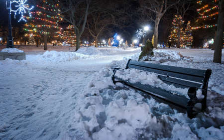 Lone bench on a cold Christmas night photo
