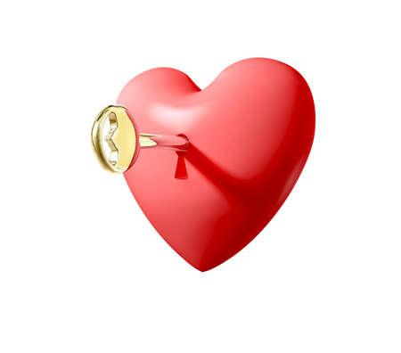 Golden key unlocking a heart