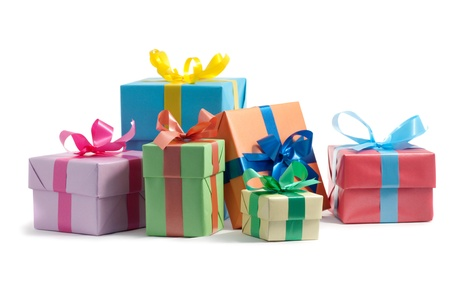 color gift boxes on white background Standard-Bild