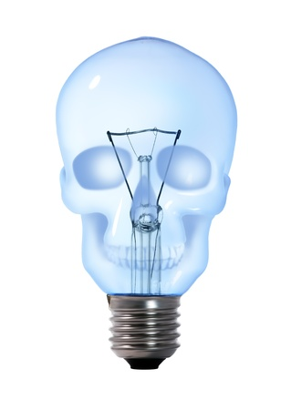 skull tungsten light bulb lamp on white background photo