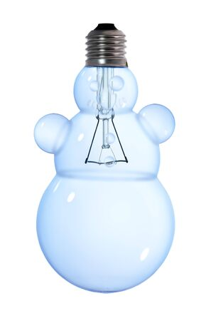 snowman tungsten light bulb lamp on white background photo