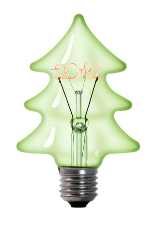 christmas tree tungsten light bulb lamp on white background photo